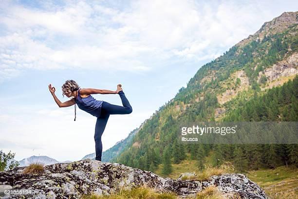 Yoga exercises in nature: Dancer pose
