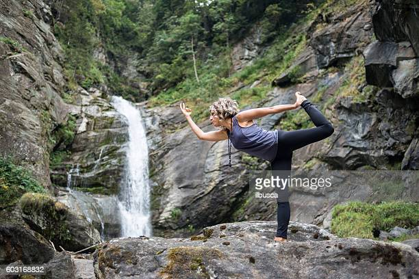 Yoga exercises in nature: Lord of the Dance Pose (Natarajasana)