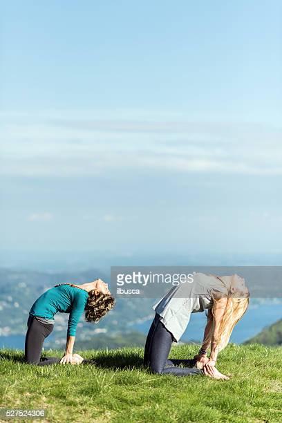 yoga-übungen in natur auf die berge: kamel-pose - camel active stock-fotos und bilder