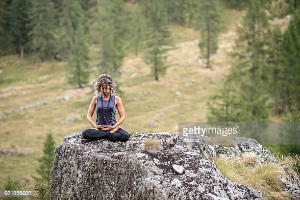 Yoga exercises in nature: Padmasana or lotus position