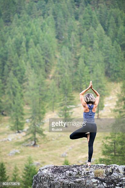 yoga exercises in nature: tree pose - tree position stock photos and pictures