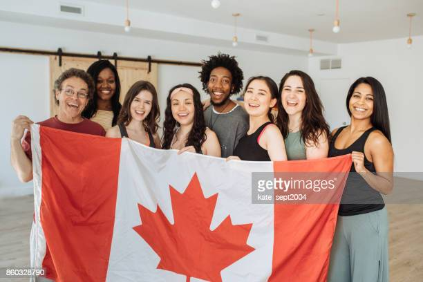 yoga group in canada - canada day stock pictures, royalty-free photos & images
