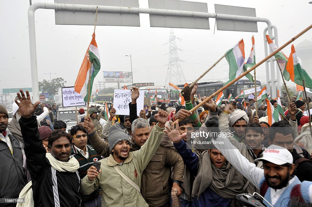 Yoga guru Baba Ramdev along with thousands of his supporters headed towards India Gate to join the protest against Delhi gang rape incident on December 23, 2012 in Ghaziabad, India.
