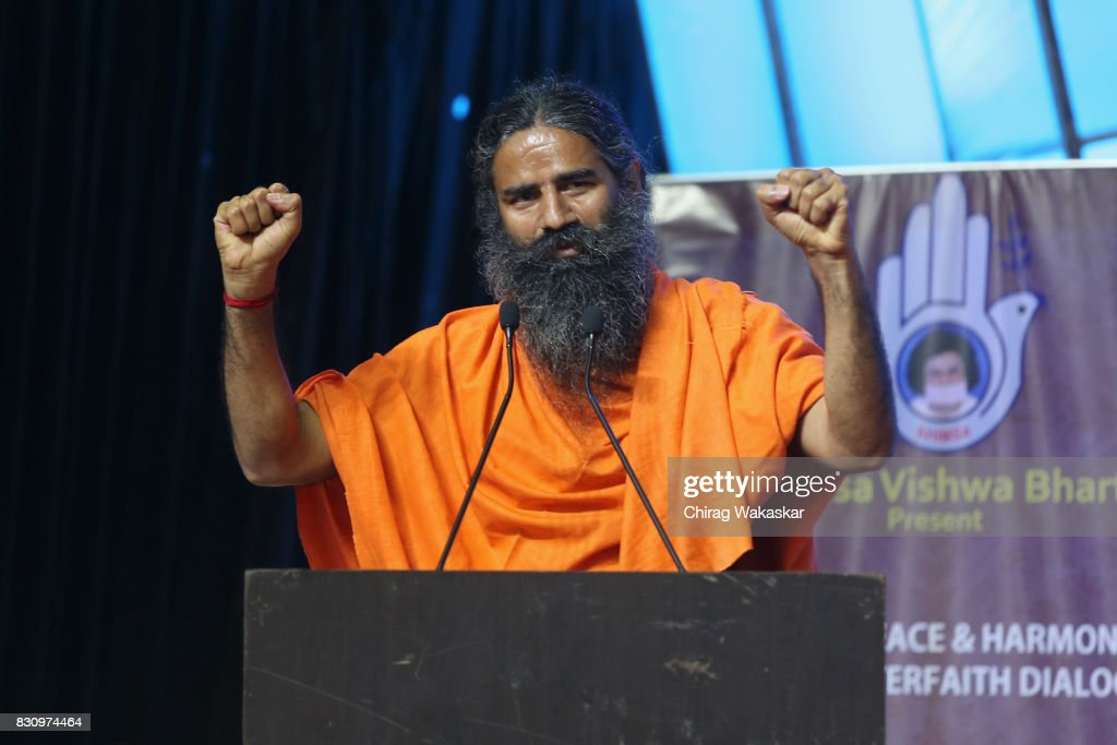 Yoga guru Baba Ramdev attends World Peace & Harmony Conclave at NSCI Dome on August 13, 2017 in Mumbai, India.