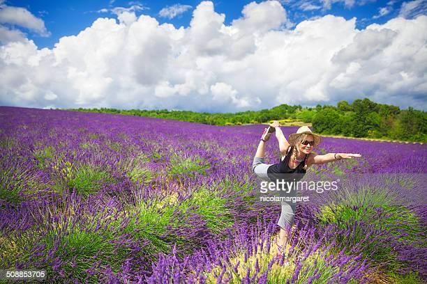 Yoga in a lavender field