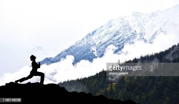 yoga in himalayas - リバイバル ストックフォトと画像