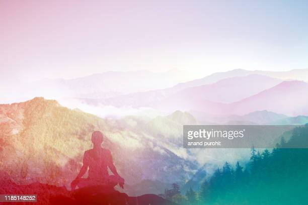 yoga in himalayas - wellness stock pictures, royalty-free photos & images