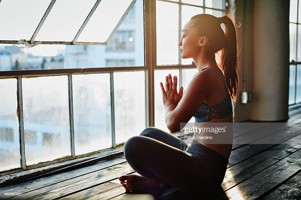 Yoga in Natural Light Studio : Stock Photo