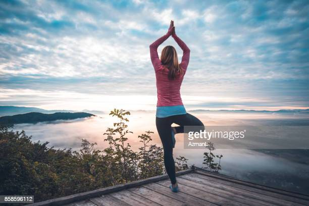 yoga in nature - tree position stock photos and pictures