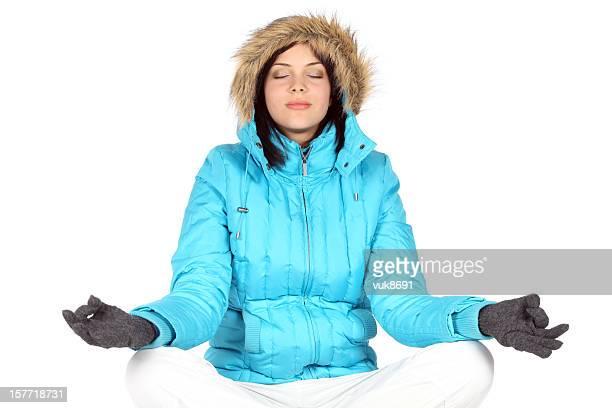 Yoga in snow
