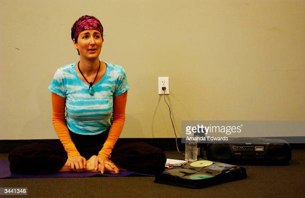 "Yoga Instructor Anna Getty leads the Center Yourself with Kundalini Yoga class during the Step Up Women's Network's Third Annual ""Step Up For Yoga..."