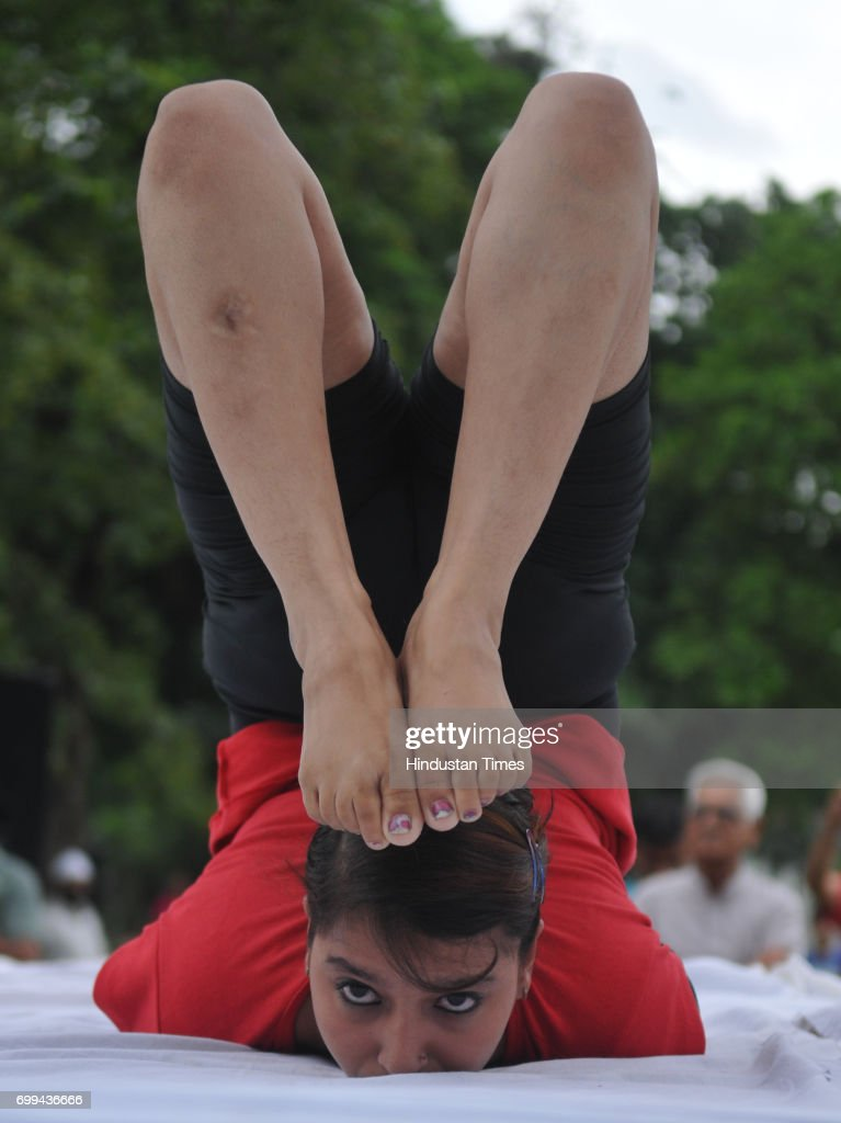 Yoga instructor Naina participating in yoga session on International Yoga Day on June 21 2017 in Jalandhar India