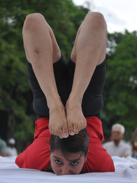 Yoga instructor Naina participating in yoga session on International Yoga Day on June 21 2017 in Jalandhar India