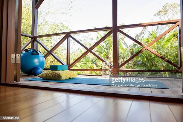 Yoga mat on balcony