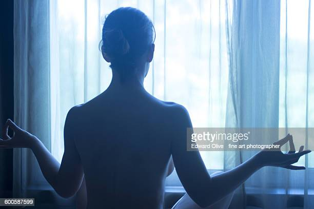 Yoga nude woman position breathing meditating