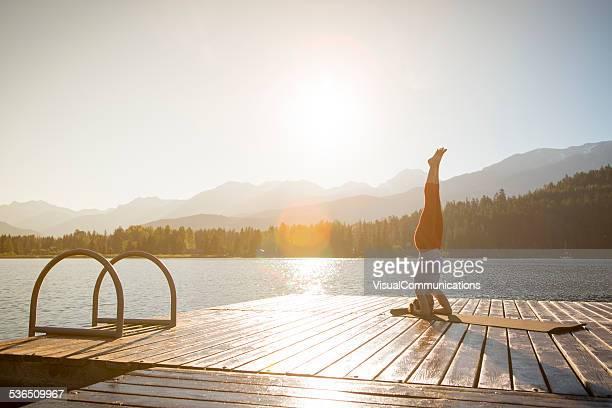 Yoga on lake