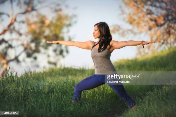 yoga outdoors - california strong stock photos and pictures