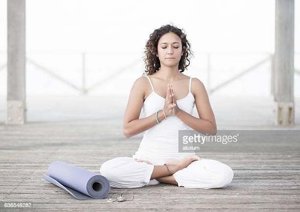 Yoga padmasana namaste