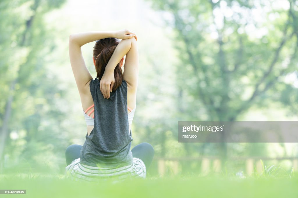 yoga poses at the park : Stock Photo