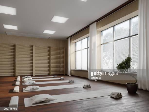 yoga studio workplace - yoga studio stock pictures, royalty-free photos & images