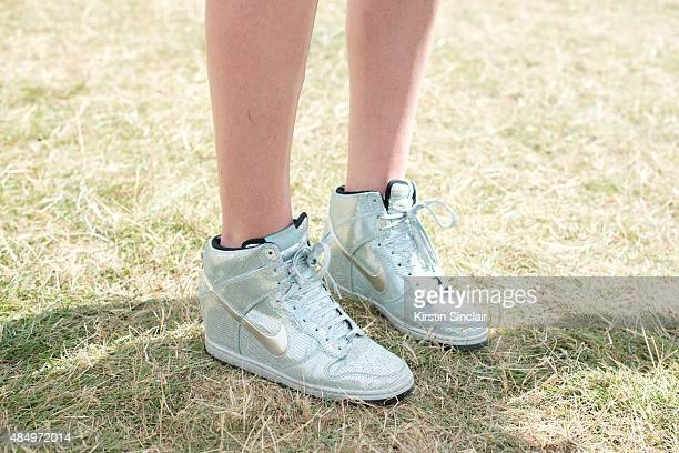 Yoga Teacher Tuuli Shipster wears Nike Trainers on day 2 of the Wilderness Festival in Cornbury Park on August 7 2015 in Oxfordshire England
