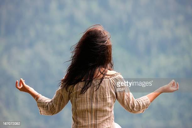 Yoga woman Woman praying outside