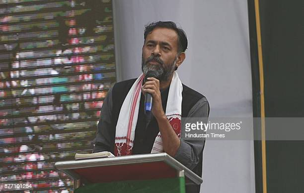 Yogendra Yadav an Indian politician addressing farmers from across the country during a demonstration in support of their various long pending...