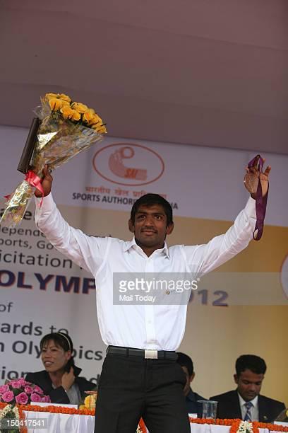 Yogeshwar Dutt at a felicitation function for the Olympic medallist in New Delhi on Thursday.
