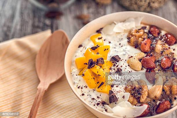 Yoghurt with Fresh Fruits and Honey Nuts