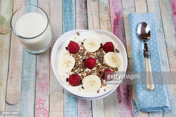 Yoghurt with muesli, raspberries and bananas