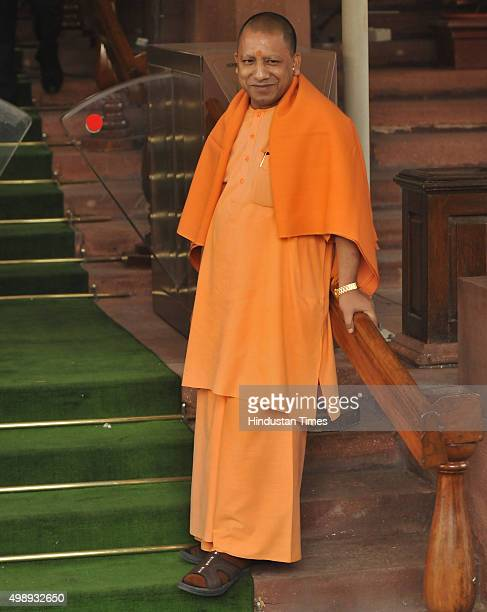 Yogi Adityanath BJP Member of Parliament from Gorakhpur during the winter session of Parliament on November 27 2015 in New Delhi India Replying to a...