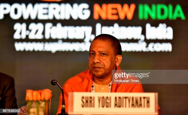 Yogi Adityanath during the launch of Logo and Mobile Application of UP Investors Summit Mumbai Roadshow at Trident Hotel Nariman Point on December 22...