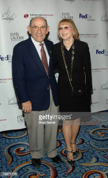 Yogi Berra and wife Carmen Berra attend the Dress for Success 10th Anniversary Gala at the Marriott Marquis Hotel on April 12 2007 in New York City