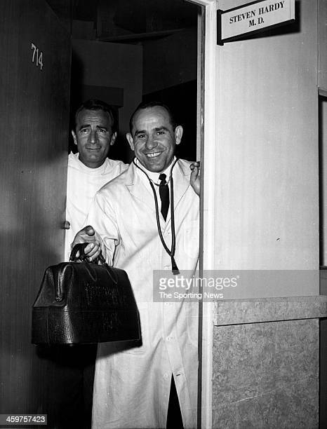 Yogi Berra of the New York Yankees on set of ABCTV's 'General Hospital' series with former Cleveland Indian and actor John Beradino circa 1963 in Los...