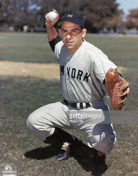 Yogi Berra of the New York Yankees poses for a portrait Yogi Berra played for the New York Yankees from 194663