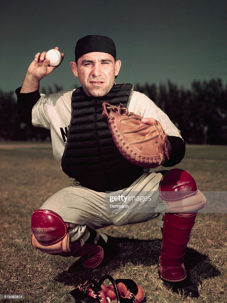 2/1953- Yogi Berra of the NY Yankees. UPI color slide.