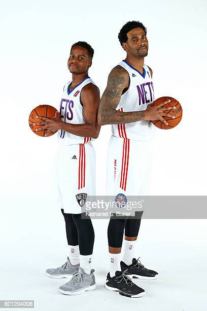 Yogi Ferrell and Gary Forbes of the Long Island Nets pose for a portrait during NBA DLeague Media Day on November 04 2016 at Barclays Center Brooklyn...
