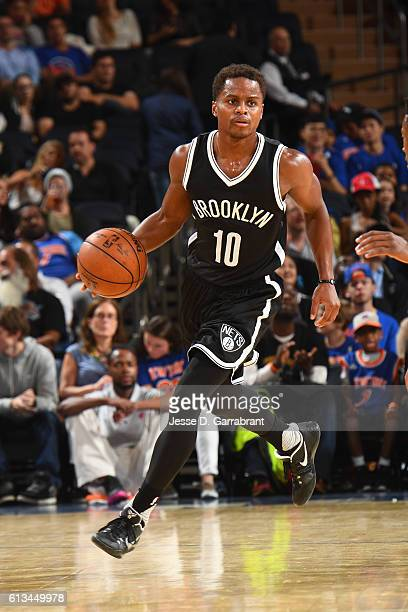 Yogi Ferrell of the Brooklyn Nets dribbles up court against the New York Knicks in a preseason game at Madison Square Garden on October 8 2016 in New...