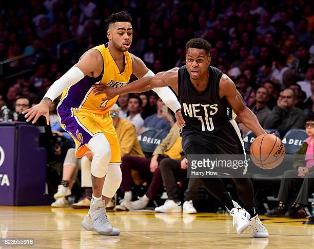 Yogi Ferrell of the Brooklyn Nets drives on D'Angelo Russell of the Los Angeles Lakers during a 125118 Laker win at Staples Center on November 15...