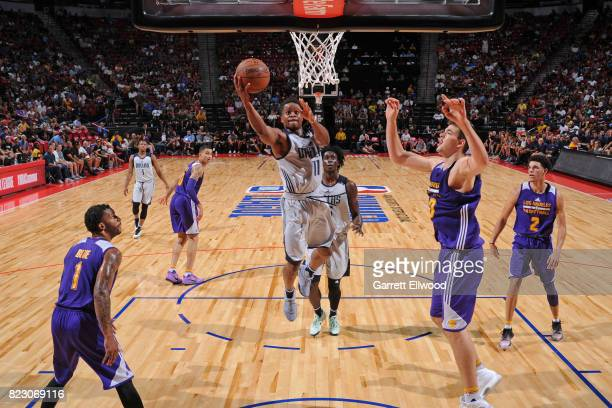 Yogi Ferrell of the Dallas Mavericks goes to the basket against the Los Angeles Lakers during the 2017 Summer League Semifinals on July 16 2017 at...