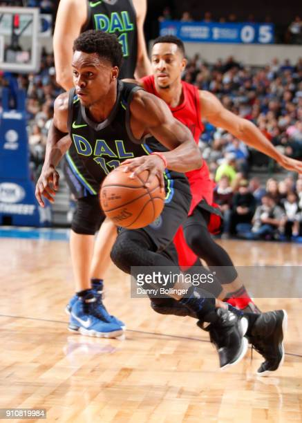 Yogi Ferrell of the Dallas Mavericks handles the ball against the Portland Trail Blazers on January 26 2018 at the American Airlines Center in Dallas...