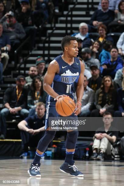 Yogi Ferrell of the Dallas Mavericks handles the ball against the Utah Jazz on February 24 2018 at Vivint Smart Home Arena in Salt Lake City Utah...