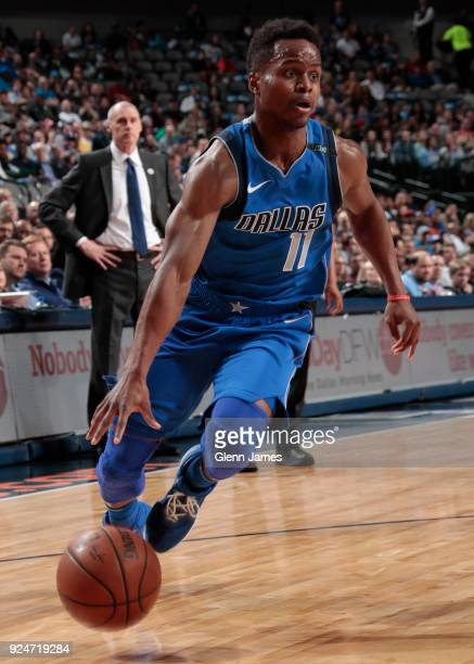 Yogi Ferrell of the Dallas Mavericks handles the ball against the Indiana Pacers on February 26 2018 at the American Airlines Center in Dallas Texas...