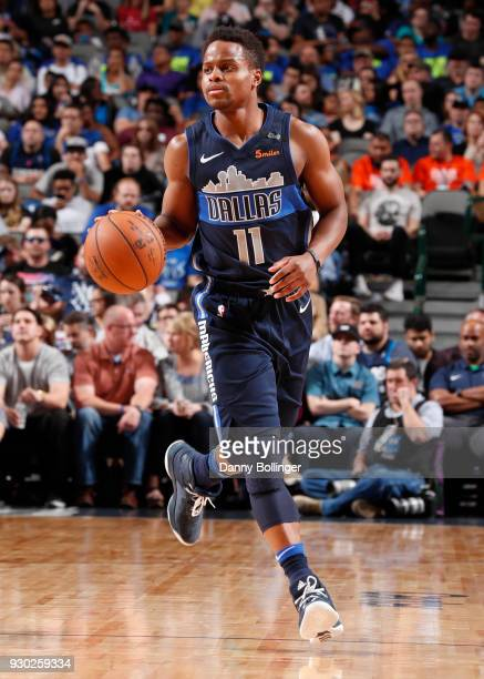 Yogi Ferrell of the Dallas Mavericks handles the ball against the Memphis Grizzlies on March 10 2018 at the American Airlines Center in Dallas Texas...