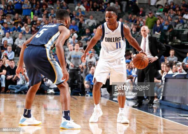 Yogi Ferrell of the Dallas Mavericks handles the ball during the game against the Memphis Grizzlies on October 25 2017 at the American Airlines...