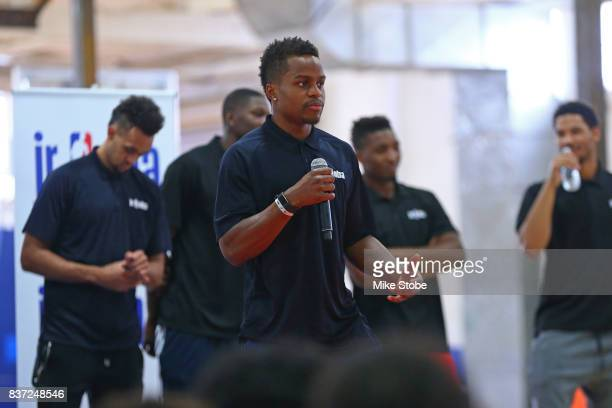 Yogi Ferrell of the Dallas Mavericks participates in a Jr NBA Clinic in New York New York on August 15 2017 NOTE TO USER User expressly acknowledges...