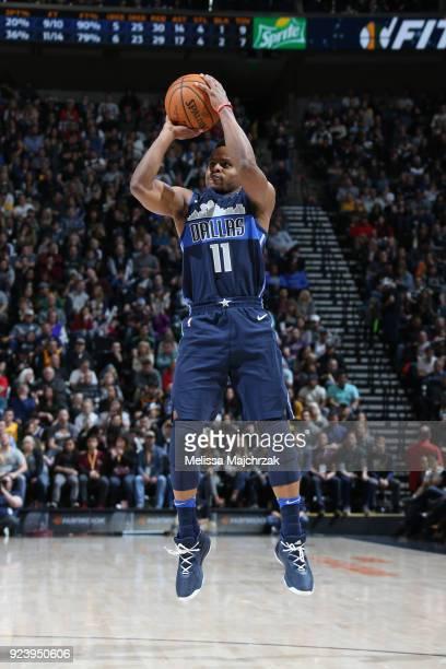 Yogi Ferrell of the Dallas Mavericks shoots the ball against the Utah Jazz on February 24 2018 at Vivint Smart Home Arena in Salt Lake City Utah NOTE...