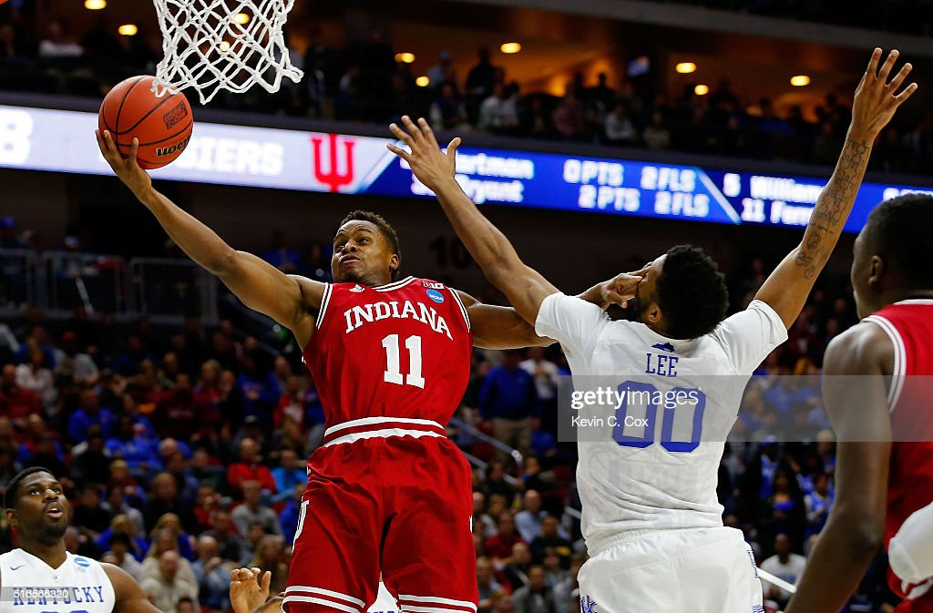 Yogi Ferrell #11 of the Indiana Hoosiers shoots against Marcus Lee #00 of the Kentucky Wildcats in the second half during the second round of the 2016 NCAA Men's Basketball Tournament at Wells Fargo Arena on March 19, 2016 in Des Moines, Iowa.