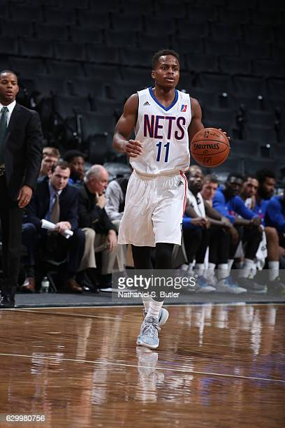 Yogi Ferrell of the Long Island Nets handles the ball against the Maine Red Claws during an NBA DLeague game between the Maine Red Claws and the Long...