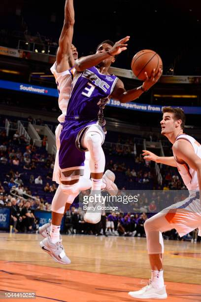 Yogi Ferrell of the Sacramento Kings shoots the ball against the Phoenix Suns during a preseason game on October 1 2018 at Talking Stick Resort Arena...